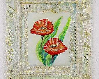 3D Acrylic painting on wood frame, Mixed Media Original, unique, 13,8x16,1 inch, Tatiana Art