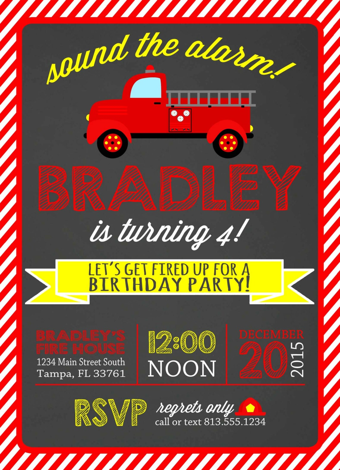 Firetruck Birthday Invitation Firetruck Party Firetruck Invite – Fire Truck Party Invitations