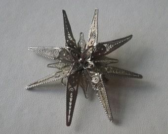 Reduced Sale Vintage Large Silver Filigree Flower Brooch Pin