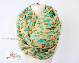 Mint Leopard Infinity Scarf, Pastel Mint Cheetah Infinity Scarf, Scarf for Fashion, Christmas Gift, Holiday Gifts
