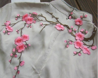 Plum Blossom Wintersweet Flower Applique Collar Cotton White Altered Clothing Sewing 1pc