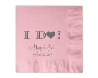 100 Personalized Napkins Personalized Napkins Bridal Shower  Wedding Napkins Custom Monogram i do I DO