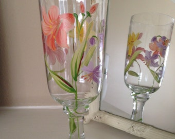 Stemmed Beverage Glass Hand Painted