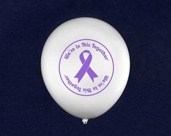 Together Purple Ribbon Balloons (50 Balloons) (BAL-4WT)