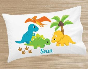 Personalized Kids' Pillowcase - Dinosaur Pillowcase for Boys - Dino Pillow Case - Custom Dinosaur Pillow Slip