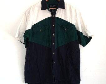 80's, Wrangler Brand, Color Block Shirt