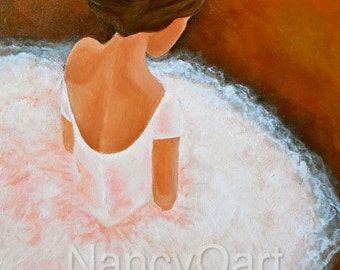 Ballerina art, ballet artwork, dancer art, sitting dancer, ballet dancer on canvas, Original Ballerina art by Nancy Quiaoit at NancyQart.