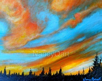 Sunset artwork - Sunrise art - Cloud painting - Original painting by Nancy Quiaoit at NancyQart.