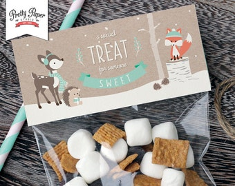 Winter Woodland Treat Bag Toppers // INSTANT DOWNLOAD // Favor Bags // Fox Birthday Party Decoration // Boy or Girl // Printable BP04