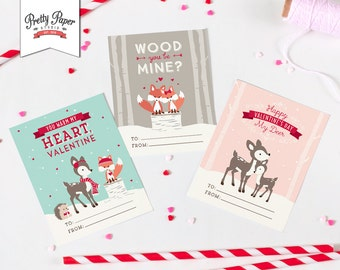 Woodland Valentine's Day Cards // INSTANT DOWNLOAD // Printable Classroom Valentines // Fox Deer Hedgehog