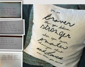 Custom Hand Painted Personalized Handwriting pillow 20x20 with insert- write your own quote