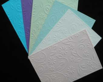 SET of 15 embossed card fronts with floral design, choise your own color