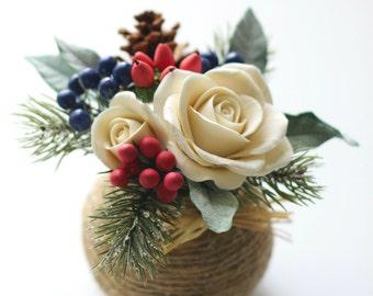 Winter Wedding Centerpiece, Rustic Winter Wedding Flowers, Christmas Centerpiece