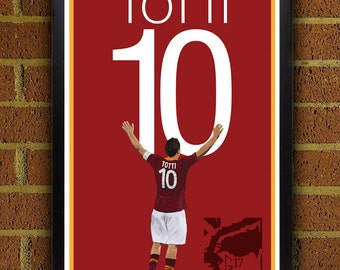 Francesco Totti 10 Roma Poster - Italy Soccer Poster- 8x10, 8.5x11, 13x19, poster, art, wall decor, home decor, world cup winner