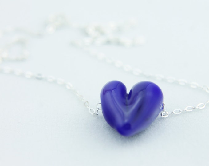 Cobalt Blue / heart shape pendant/ hand made/ sterling silver chain/ lamp work heart pendant by Destellos - Glass Art & Accessories