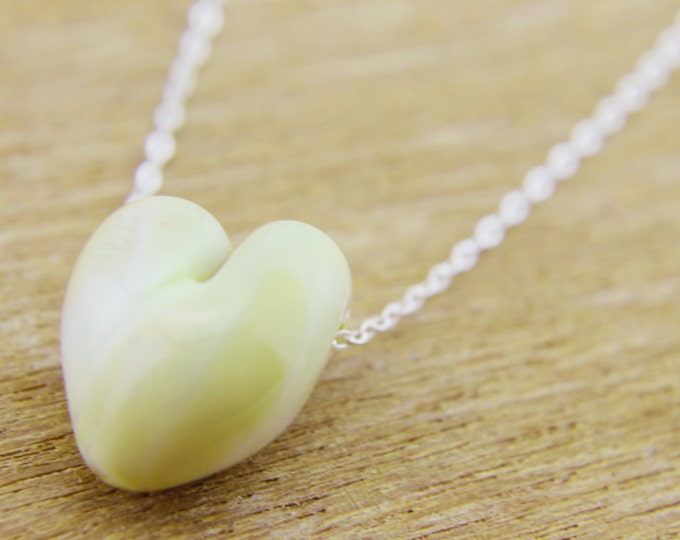Light Ivory / heart shape pendant/ hand made/ sterling silver chain/ lamp work heart pendant by Destellos - Glass Art & Accessories