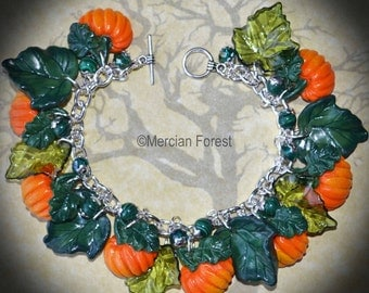 The Pumpkin Patch Bracelet - Pagan Jewellery, Wicca, Handmade, Polmer Clay, Samhain, Harvest
