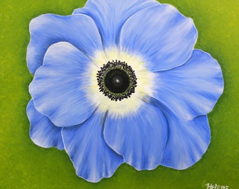 """16 x 20"""" Original Painting, Large Periwinkle Flower Acrylic Painting on Canvas, Ready to Hang"""