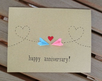 anniversary card, long distance anniversary card, happy anniversary card, paper plane anniversary card, first anniversary card