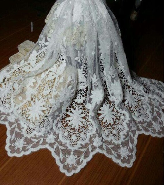 Items similar to white bridal lace fabric wedding dress for French lace fabric for wedding dresses