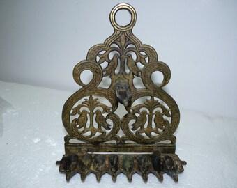 Old Vintage Hand-Sawn Brass Judaica Chanukah Hanukkah Menorah, Birds, H 21 cm