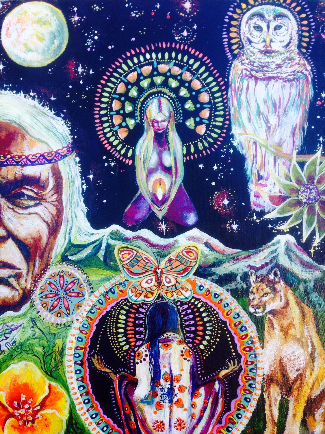 Vision Quest Visionary Art White Owl Butterfly Meditation