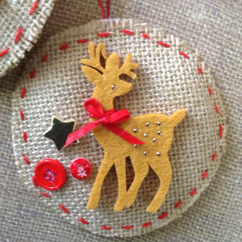 Christmas reindeer ornaments burlap reindeer ornaments for Burlap christmas decorations to make