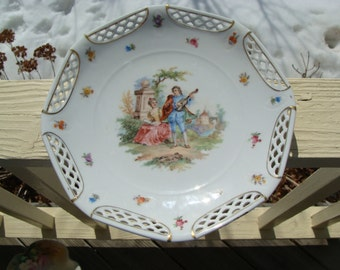 Vintage German Hand Painted Reticulated Cabinet Plate Schwarzenhammer Bavaria Germany Victorian Courting Couple Scene