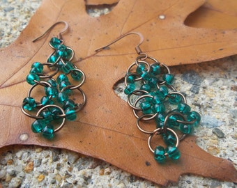 Made to order dangling bead & chainmaille earrings