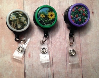 Flower themed badge reel -- show your love of nature while wearing your ID