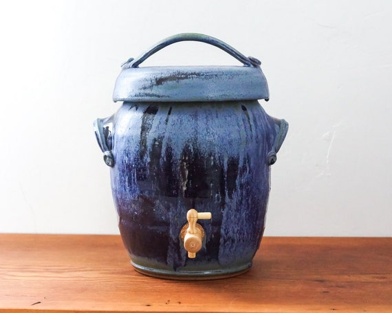 Pottery Kombucha Fermentation Crock In Shades Of Cobalt And