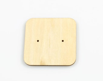 WOOD EARRING CARD (Set of 5) - Earring Display Card Wood Cutout with Centre Offset holes (5cm x 5cm)