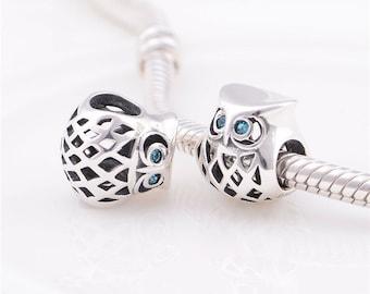Sterling Silver Charm owl / charm for european bracelet / european charm