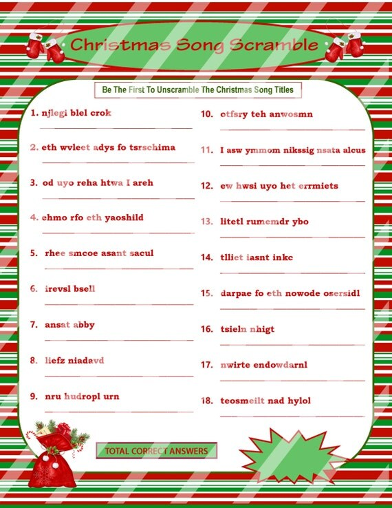 Christmas scramble christmas song game printable christmas game diy