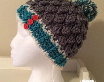 Textured Hat with Pom Pom