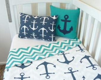White with navy anchor cot quilt - Choose your own backing material