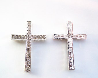 5 pcs Silver Metal Sideway Cross Punk Bracelet Connector, Silver With clear Rhinestone, Diy Craft Jewelry Making