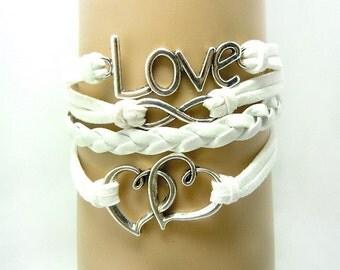 White Heart Infinity Leather bracelet, Handmade LOVE Bracelet ,Friendship Leather Bracelet