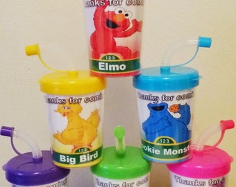 Sesame Street Party Favor Cups, DIY Elmo, Big Bird Cookie Monster Oscar Abby Cadabby The Count Birthday Party Treat Cups 6ct, Do It Yourself