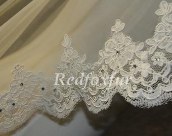 Wedding Veil, Bridal Veil, cathedral veil, Alencon Lace veil 3 meters veil, white veil, ivory veil, - lace veil - Diamond Veil