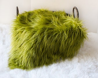 Green Mongolian Faux Fur Prop, Newborn Baby Photo Prop,  Faux Grass, Fuzzy Layering Blanket.