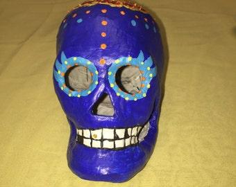 Marigold Hand Painted Paper Mache Sugar Skull
