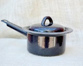 Vintage black enamel sauce pot with cover