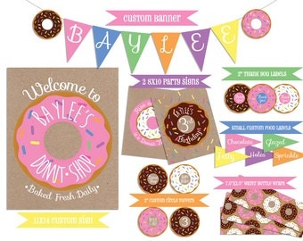 Donut Party Coordinating Printables (Includes Banner, Signs, Labels and Water Bottle Wraps)