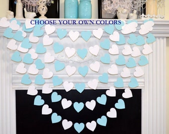 Baby blue and white heart garland, baby boy shower decoration, white wedding garland, bridal shower decoration,