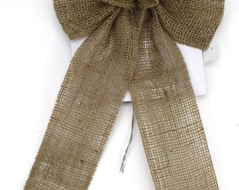 Burlap / Jute Bows with wire(BRBxxx-12) 5 sizes in Natural (tan) color, great for country, rustic, primitive Christmas decorations