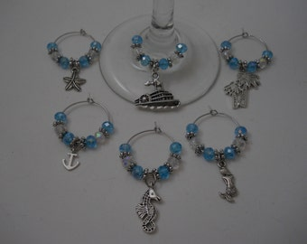 Ocean Themed Charms,Wine Glass Charms,Beaded Ring, Set of 6 Wine Charms, Charms, Ocean Theme,Wine Glass Charms,Beaded Charms,Ocean Charms