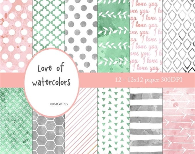 "I love you watercolor papers ""LOVE OF WATERCOLOR"" Pink, Mint, Grey, watercolors, stripes, polka dots, honeycomb, I love you words, arrows"