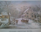 Currier and Ives American Homestead Winter and Autumn Prints.