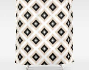 Shower Curtain Black Cream Grey Abstract Art Bathroom Accessories Home Decor Bathroom Decor